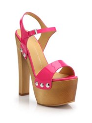 Giuseppe Zanotti Patent Leather Wooden Clog Platform Sandals