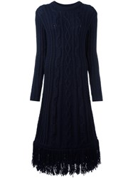 Tory Burch Cable Knit Midi Dress Blue