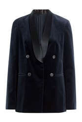 Brunello Cucinelli Cotton Velvet Blazer With Satin Collar Blue