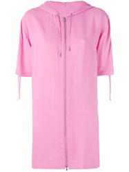 Moschino Vintage Logo Print Hooded Dress Women Viscose 40 Pink Purple