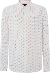 Merc Polka Dot Classic Fit Long Sleeve Crescent Shirt White