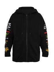 Off White Mix Rock Oversized Cotton Jersey Hooded Sweatshirt Black Multi