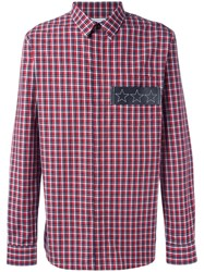 Givenchy Star Plaque Plaid Shirt Red