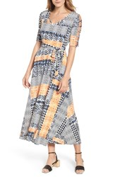Chaus Patchwork Cutout Sleeve Maxi Dress Antique White