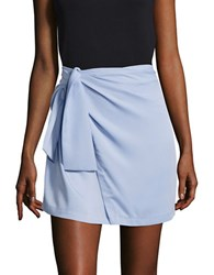 Design Lab Lord And Taylor Knit Mock Wrap Skirt Blue