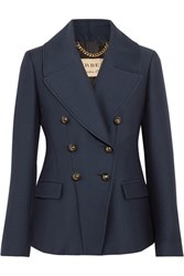 Burberry Double Breasted Twill Blazer Navy
