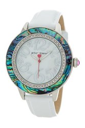 Betsey Johnson Women's Abalone Croc Embossed Leather Watch No Color
