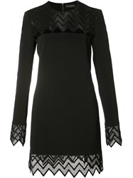 David Koma Sheer Cut Off Panel Dress Black