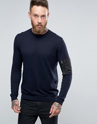 Asos Crew Neck Jumper With Military Pocket Styling Navy
