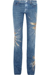 Attico Ava Embellished Low Rise Slim Leg Jeans Mid Denim