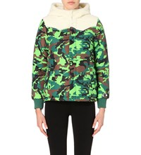 Mini Cream Camouflage Print Shell Jacket Green Camo