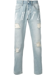 Off White Distressed Printed Jeans Blue