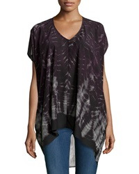 Neiman Marcus V Neck High Low Tunic Deep Purple