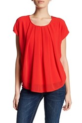 Bobeau Short Sleeve Pleated Front Knit Back Blouse Petite Red