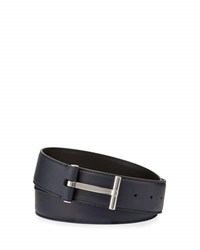 Tom Ford T Buckle Calf Leather Belt Blue