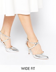 Asos Sally Wide Fit Pointed Heels Silver