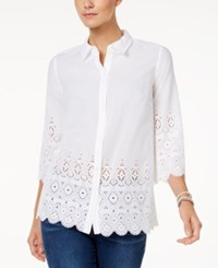 Charter Club Petite Lace Edge Shirt Only At Macy's Bright White