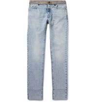 Maison Martin Margiela Re Edition Slim Fit Check Trimmed Washed Denim Jeans Indigo