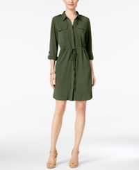 Ny Collection Petite Roll Tab Utility Shirtdress Winter Moss