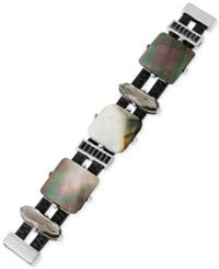 Kenneth Cole New York Silver Tone Shell And Faceted Bead Bracelet