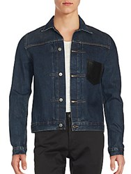 The Kooples Long Sleeve Front Button Jacket Blue