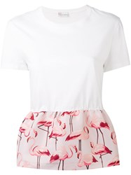Red Valentino Flamingo Peplum Top Women Cotton Polyester S White