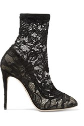 Dolce And Gabbana Stretch Lace Tulle Ankle Boots Black