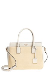Kate Spade New York Cameron Street Sally Straw And Leather Satchel Ivory Natural Cement