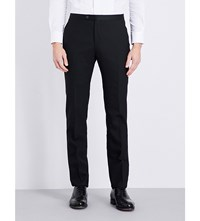 Lardini Satin Trimmed Tailored Fit Wool Trousers Black