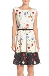 Women's Gabby Skye Floral Print Shantung Fit And Flare Dress
