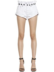 One Teaspoon Le Bandits Studded Ruffled Denim Shorts