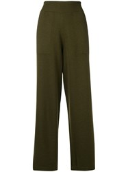 Barrie Knitted Wide Leg Trousers Green