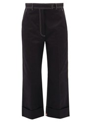 Thom Browne Topstitched Cotton Drill Chinos Navy