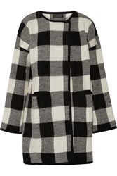 Hatch Plaid Alpaca And Merino Wool Blend Coat Black
