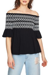 1.State Embroidered Smocked Off The Shoulder Top Rich Black