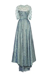 Luisa Beccaria Floral Embroidered Asymmetrical Gown Blue