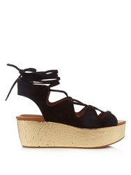 See By Chloe Lace Up Suede Platform Sandals Black Gold
