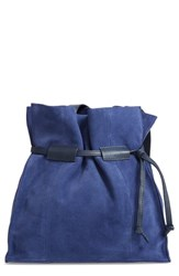 Leith Pull String Faux Leather Bucket Bag Blue