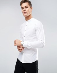 Asos Super Skinny Shirt With Gold Poppers White