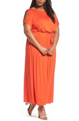 Dorothy Perkins Plus Size Women's Jersey Cold Shoulder Maxi Dress Red
