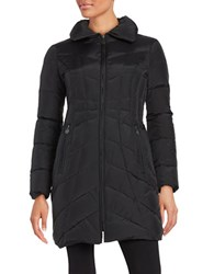 Anne Klein Convertible Collar Quilted Down Coat Black