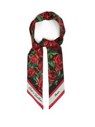 Dolce And Gabbana Rose Print Silk Faille Scarf Multi