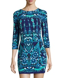 Ali Ro Long Sleeve Floral Print Dress Deep Sea Multicolor