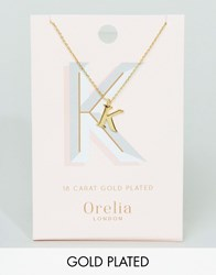 Orelia Gold Plated Large K Initial Necklace Gold