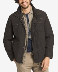 G.H. Bass And Co. Men's Big And Tall Zip And Snap Dual Pocket Jacket Dark Brown