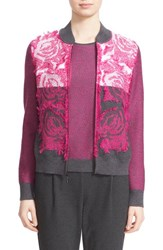 St. John Women's Collection Floral Knit Bomber Jacket
