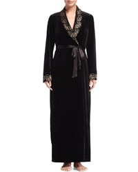 Jonquil Vivian Velvet Long Wrap Robe Black Gold