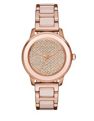 Michael Kors Kinley Rose Goldtone Stainless Steel Pave Crystal Dial Bracelet Watch