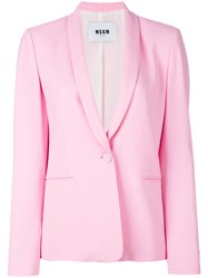 Msgm Shawl Lapel Blazer Pink Purple