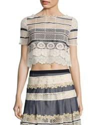 Elie Tahari Mary Chambray And Lace Cropped Top Chambray Multicolor